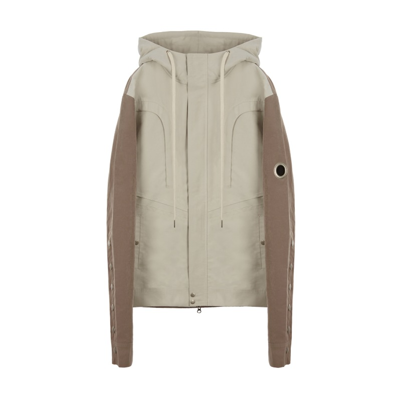 [SUNDAY OFF CLUB : 선데이 오프 클럽] T-Curved Panel Hooded Color Scheme Jacket Beige