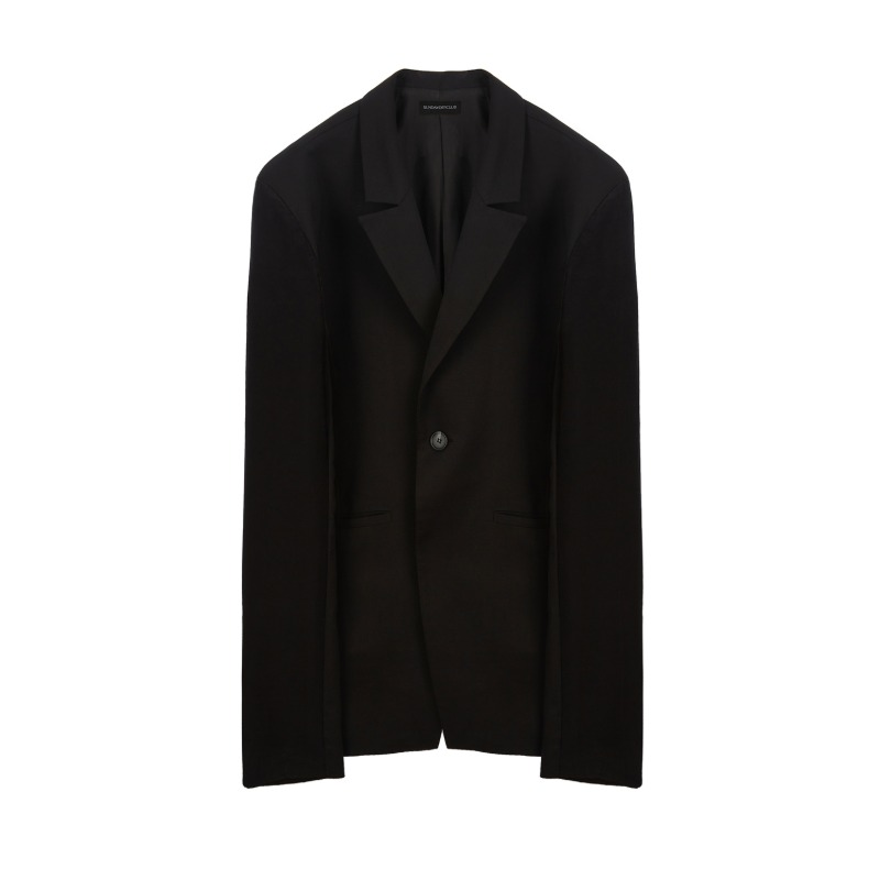 [SUNDAY OFF CLUB : 선데이 오프 클럽] Synthetic Fabric Sleeves one Button Blazer