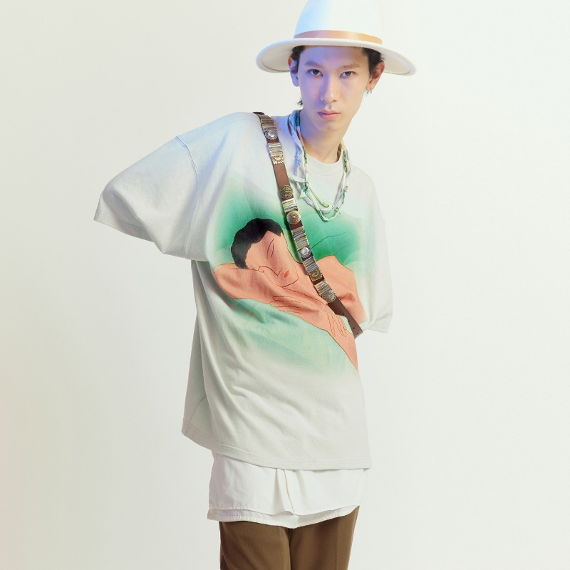 "[UMAMIISM : 우마미즘] Pastel Tone ""Chill"" Artwork T-shirt Mint"