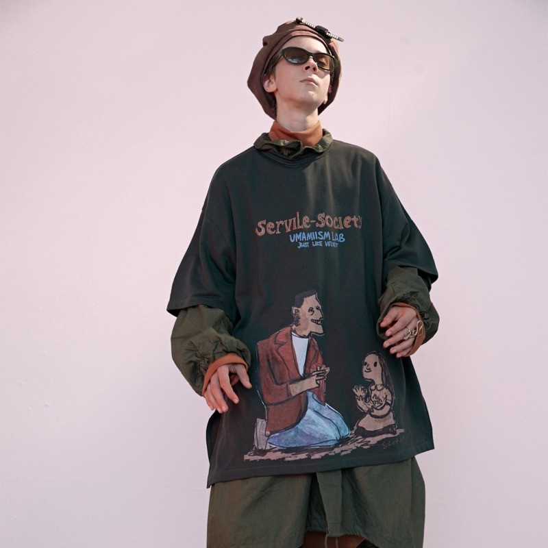 "[UMAMIISM : 우마미즘] Side Vent & Strap Detail Servile-Society ""Frankenstein"" T-shirt Bottle Green"