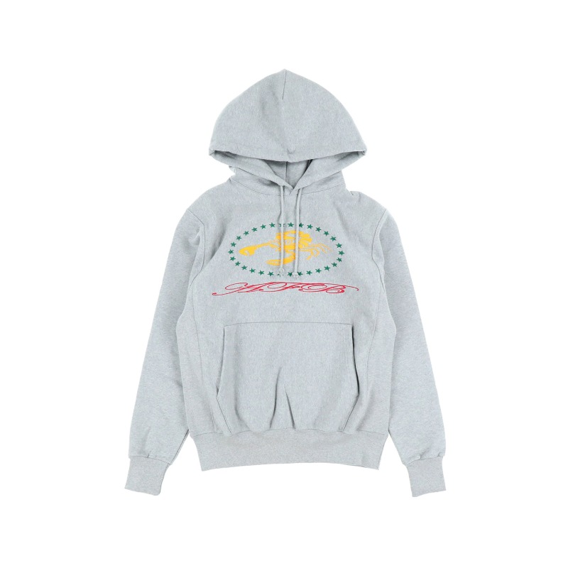 [AFB : 에이에프비] SCORPION Artwork Embroidery Side Rib Detail Hoodie Melange Grey
